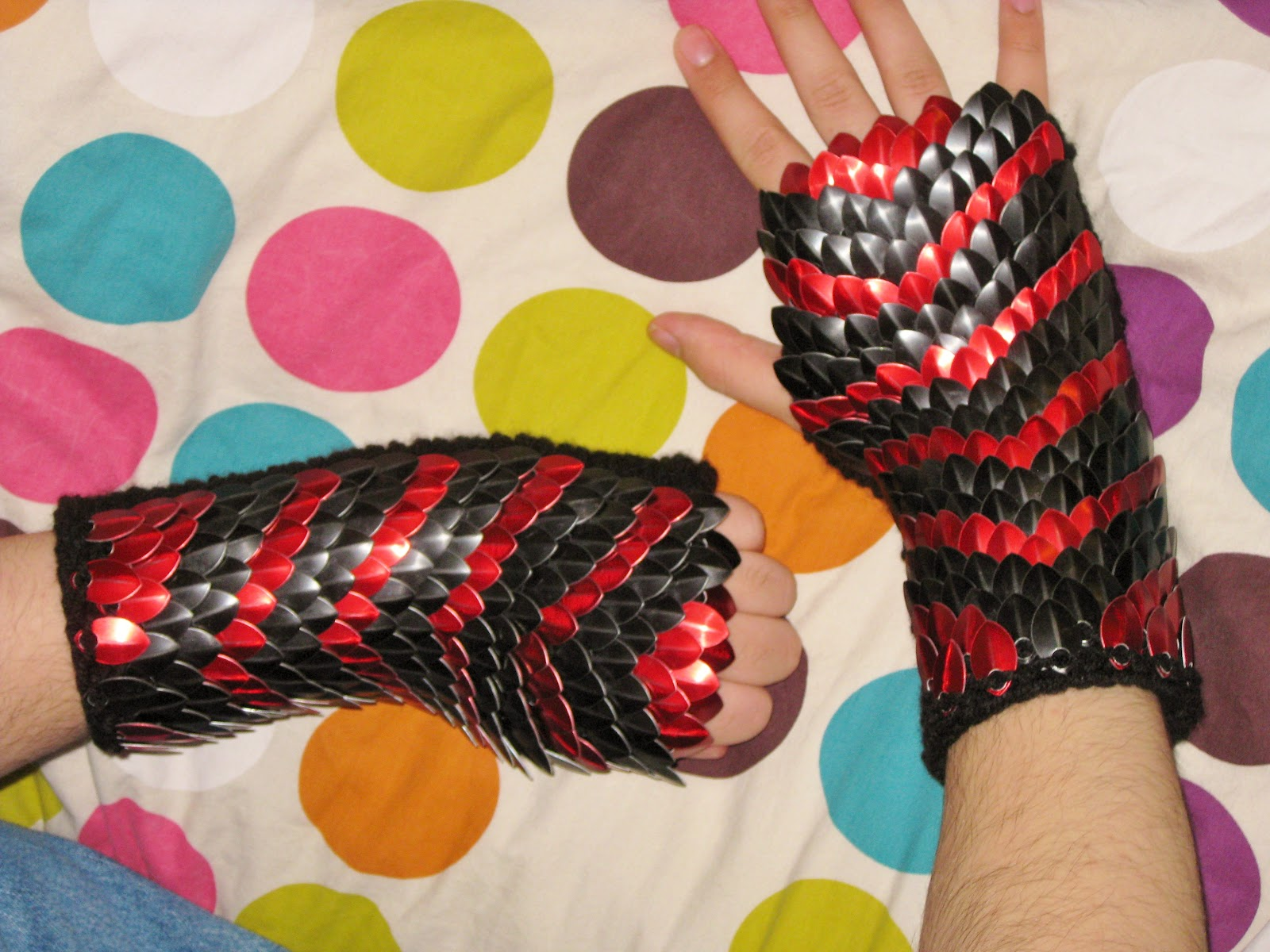Crafty Mutt: Super Simple Knitted Scale Mail Glove Pattern
