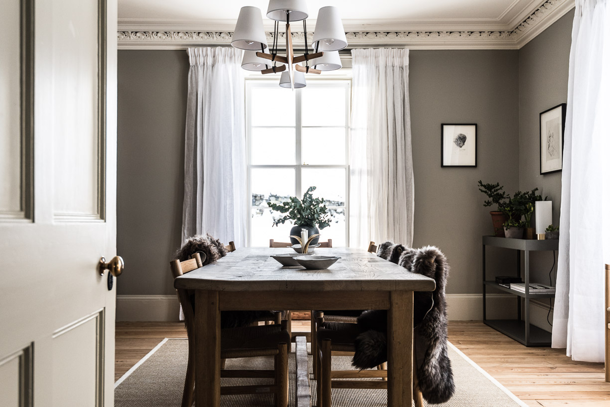 Inspiring interior design in a beautiful Scottish stone farmhouse dining room on Hello Lovely Studio