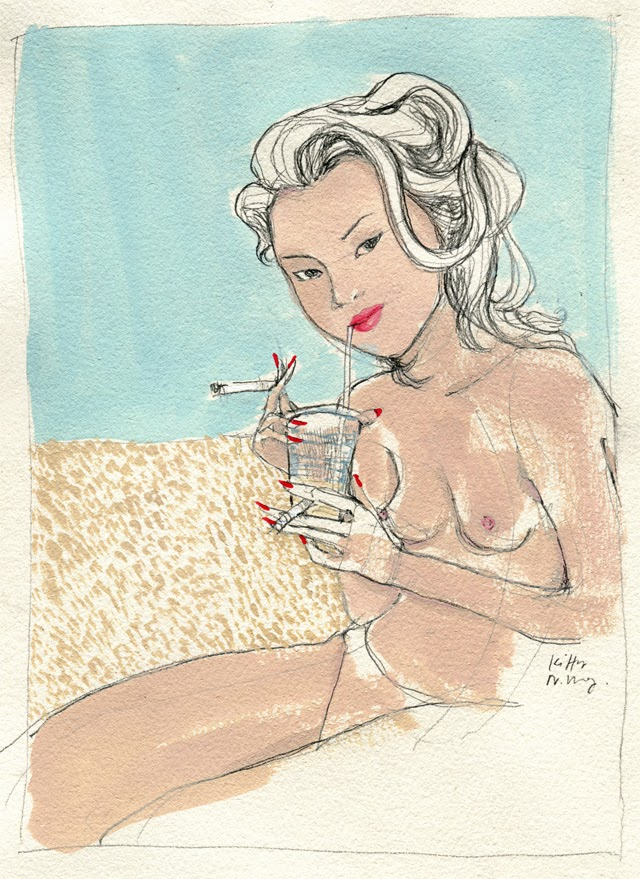 Kitty N. Wong / Kate Moss at the beach illustration
