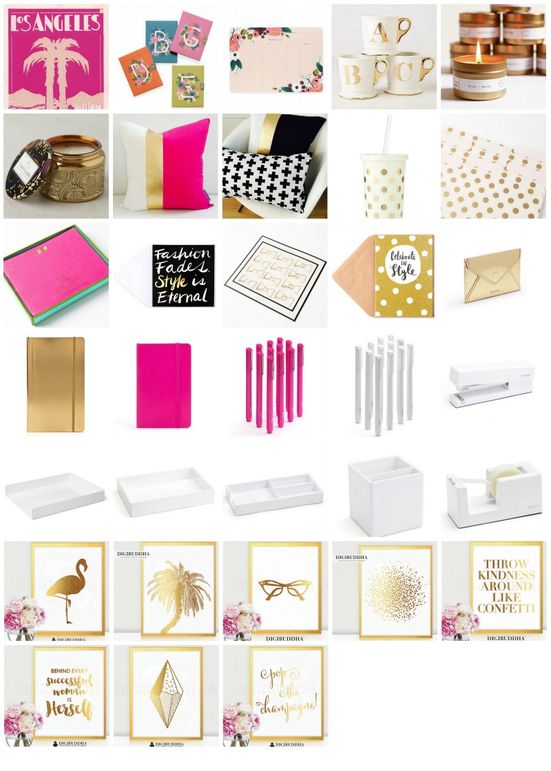 FASHION BLOGGER OFFICE WORKSPACE DESK GOLD WHITE PINK GLAM