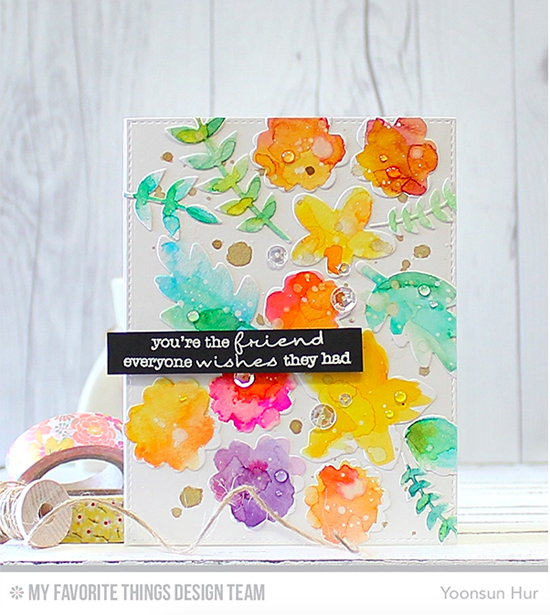 Floral Friend Card by Yoonsun Hur featuring the Lisa Johnson Designs Delicate Pretty Poppies stamp set and the Modern Blooms and Wild Greenery Die-namics #mftstamps