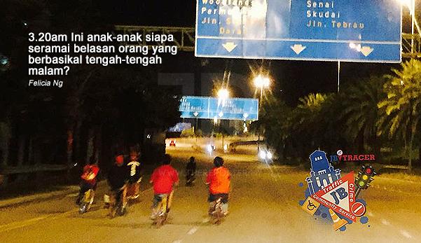 3.20 pagi sekumpulan kanak-kanak berbasikal & merayau di jalan, anak siapa ni?