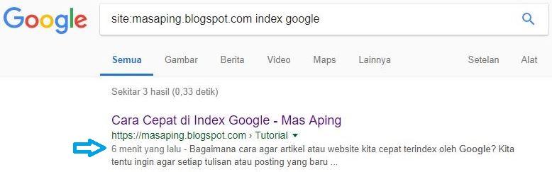cara agar artikel langsung muncul di pencarian google