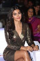 Pooja Hegde looks glamarous in deep neck sleevless short tight golden gown at Duvvada Jagannadham thank you meet function 038.JPG