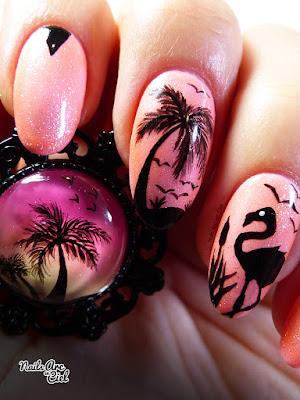 Nail Art - Flamant rose tropical et cocotiers par Nails Arc en Ciel
