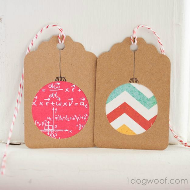 Round Scrapbook Paper Ornament Gift Tags