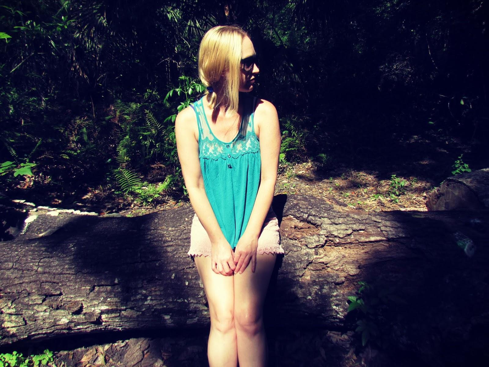 """Celtic Faerie Shaman Laurali Star """"The Faerie Whisperer"""" Hiking Girl Posing on Wooden Log Forest Bathing"""