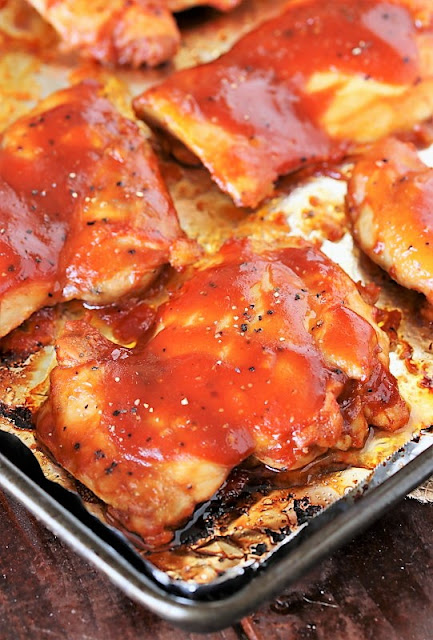 Boneless Skinless Chicken Thighs Baked in Barbecue Sauce Image