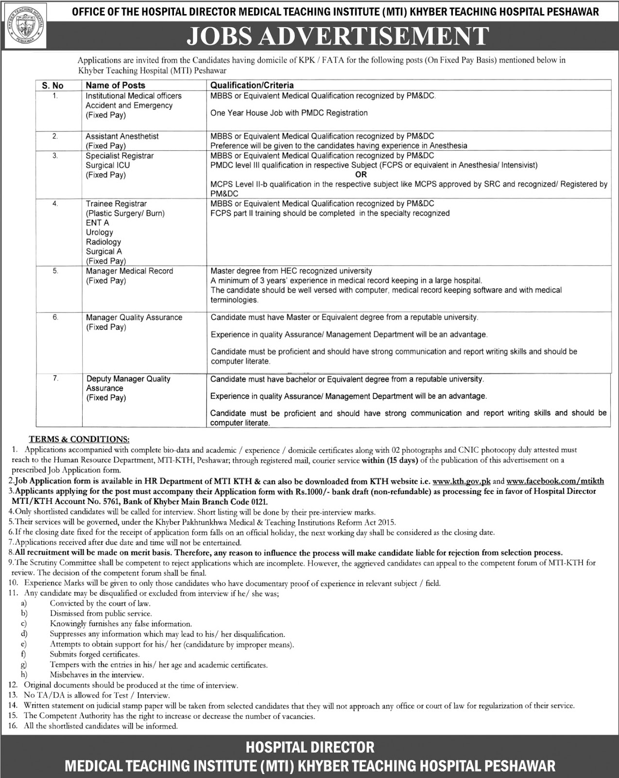 Jobs In Khyber Teaching Hospital Peshawar Sep 2017