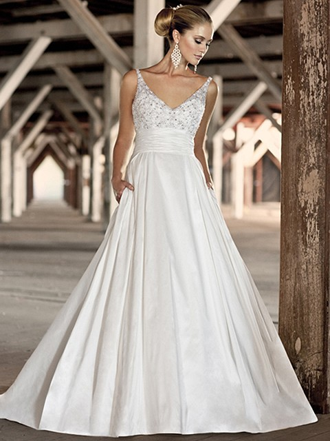 Ball Gown Backless Ivory Satin Beading V-neck Wedding Dress