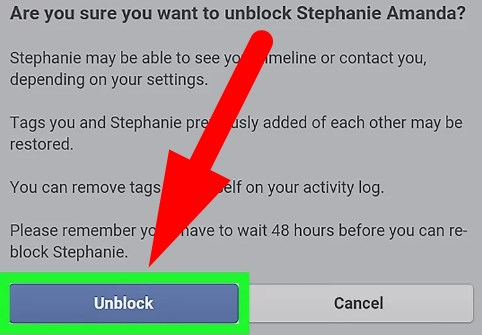 how to unblock someone on facebook mobile app