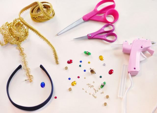 DIY Dolce & Gabbana Bejeweled Gold Headband Crown