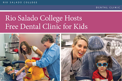 Text: Rio Salado College Dental Clinic Rio Salado College Hosts Free Dental Clinic for Kids. Image of two dental students giving child a stuffed animal, image of dental student smiling next to child in dental chair with sunglasses