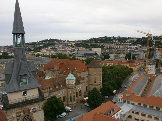 wege in der region stuttgart aussicht vom westturm der stuttgarter stiftskirche. Black Bedroom Furniture Sets. Home Design Ideas