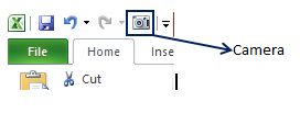 excel camera tool quick access