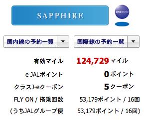 ついに「サファイア」達成|マイル修行:JAL・JGCへの旅2014
