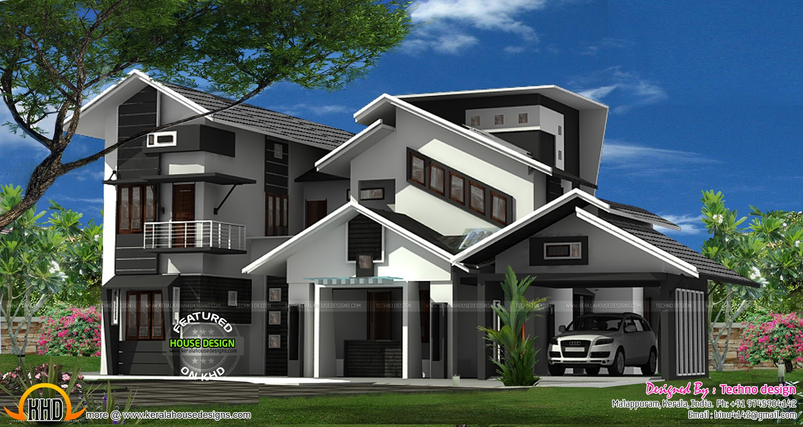 House with Cantilever balcony - Kerala home design and