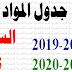 جدول المواد : السنة الثالثة ابتدائي / أساسي 2018-2019 و2019-2020