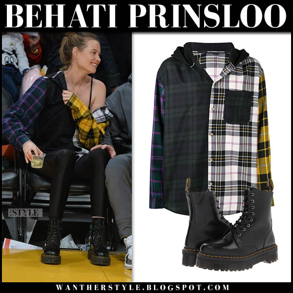 Behati Prinsloo in checked shirt, leggings and black boots dr. martens model casual style october 20