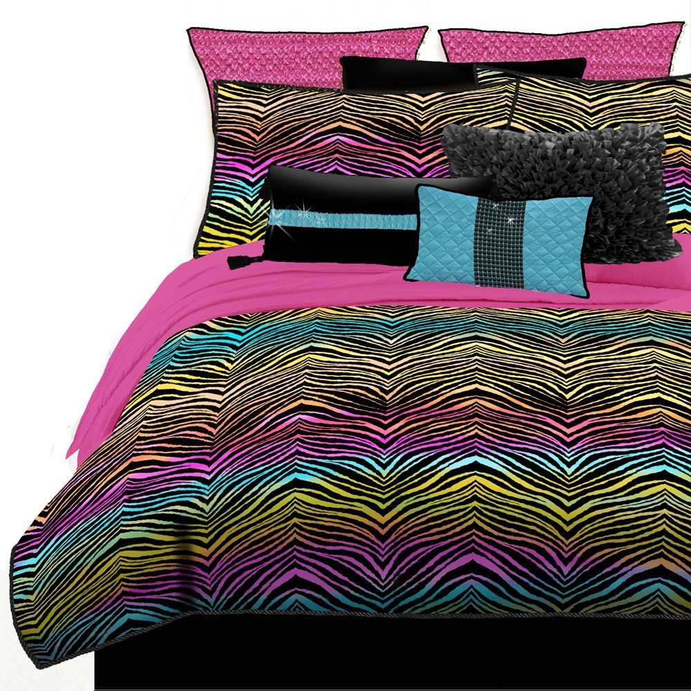 Purple Zebra Cheetah And Leopard Print Comforter