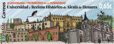 Sello de Alcalá de Henares, 20 años de Patrimonio de la Humanidad