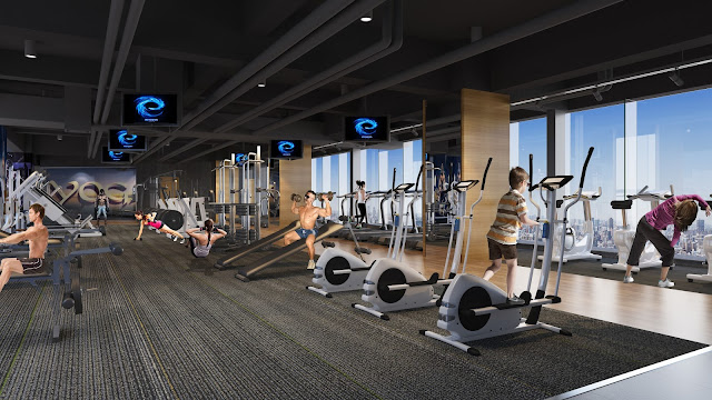 Phòng tập gym với máy móc, thiết bị tân tiến