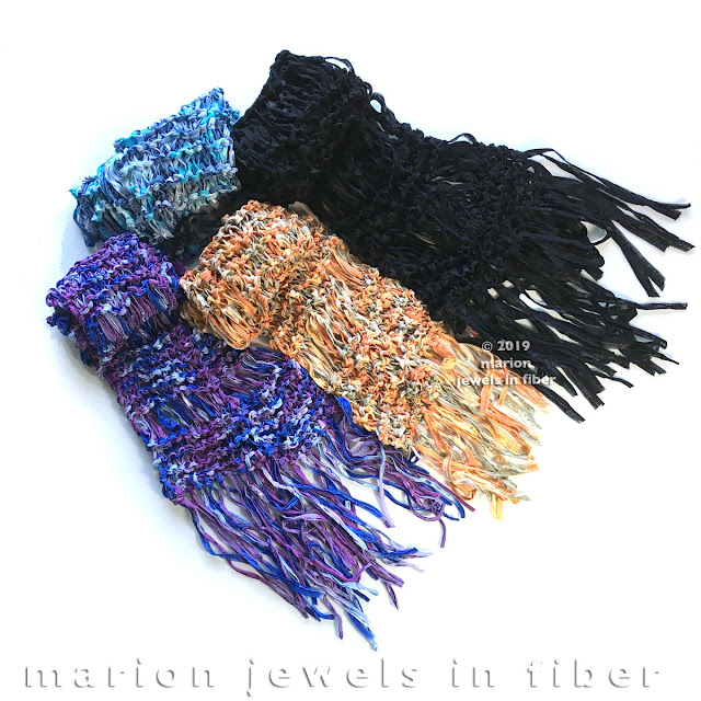 Knitted Scarf with Silk Ribbon   Free Pattern