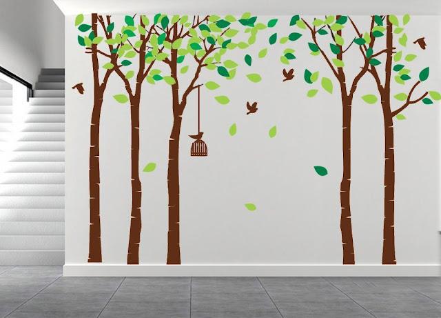 Large Five Tree Wall Decal Tree Wall Sticker