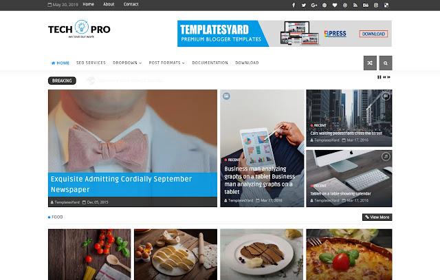 Tech Pro Responsive Magazine News Portal Tech Sites Blogger Template Theme