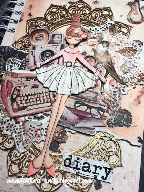 okładka kalendarza ozdobiona tekturkami, wycinankami i stemplem
