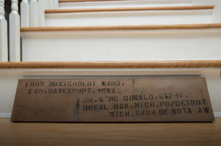 photo from Detroit Free Press article about  authenticated Wardway Maywood  in Berkley Michigan, showing marked lumber piece