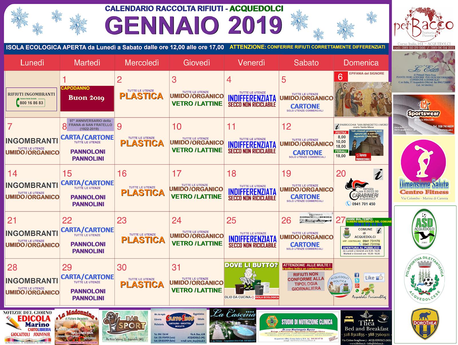 Calendario Raccolta Differenziata Sanremo.Rifiuti Calendario Di Gennaio 2019