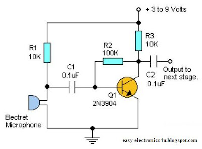 Simple one transistor microphone preamplifier: ~ Easy