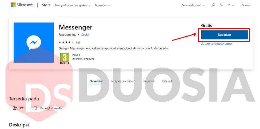 install messenger di windows