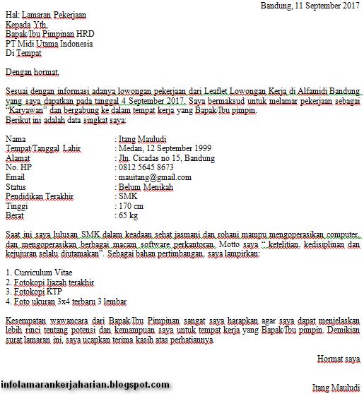 11++ Contoh surat lamaran kerja alfamidi tulis tangan terbaru yang baik dan benar