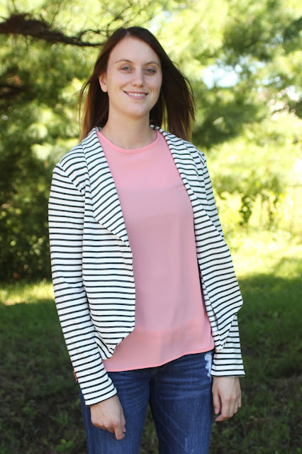 Grainline Studio Morris Blazer in a stripe ponte from Mood Fabrics for my daughter