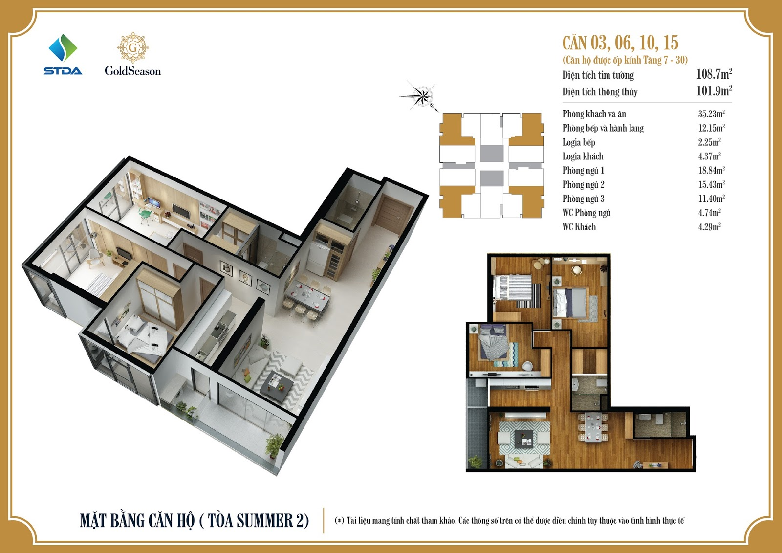 Mặt bằng căn hộ ốp kính 03, 06, 10, 15 tầng 7-30 - GoldSeason