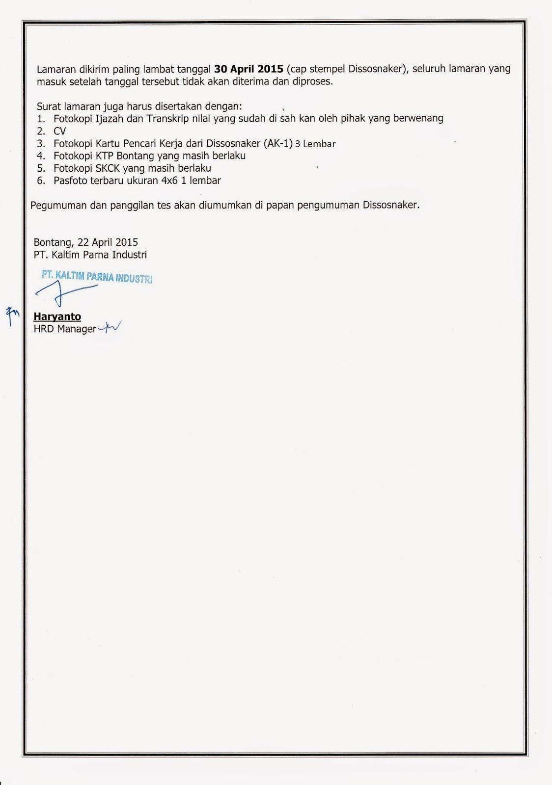 Cpns Kaltim Lowongan Cpns Bnn Badan Narkotika Nasional Terbaru Lowongan Kerja Maintenanca Planner And Scheduler Pt Kaltim Parna