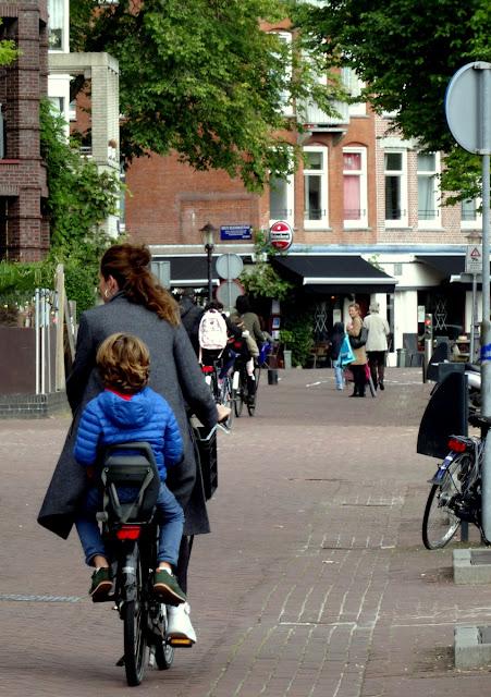 Dutch mom and child on a bike