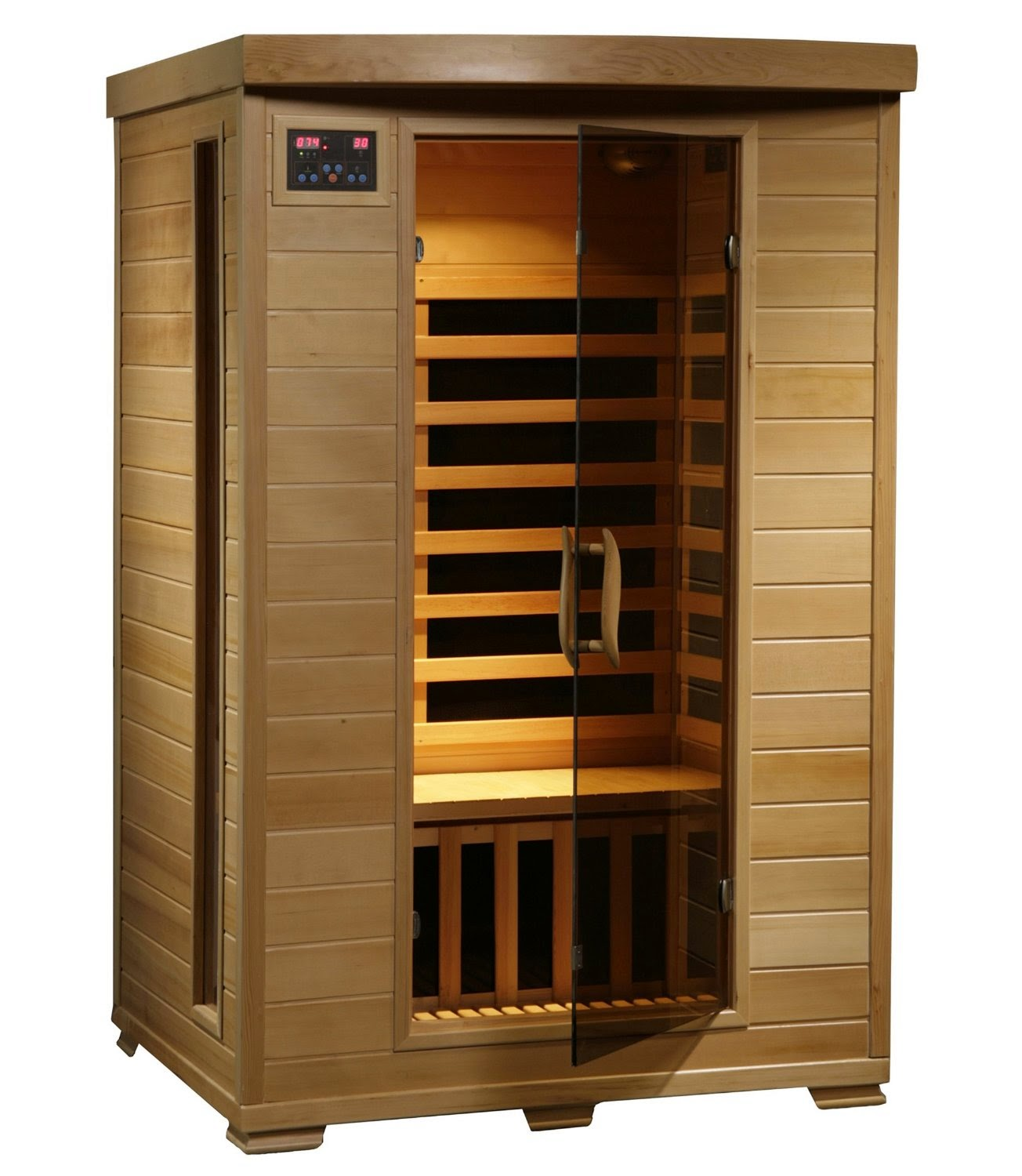 Radiant Saunas BSA2409 2-Person Hemlock Infrared Sauna with 6 Carbon Heaters, review, low cost home sauna, tongue and groove construction with quick buckle assembly, heats up to 141 degrees F, tinted tempered safety glass door
