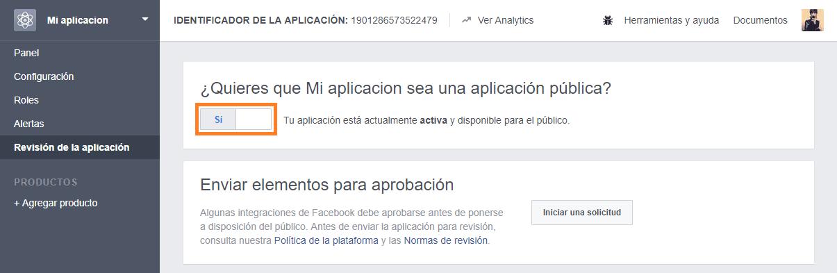 facebook aplicacion desarrollo publica