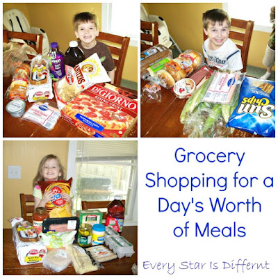 Grocery shopping with kids for a day's worth of meals