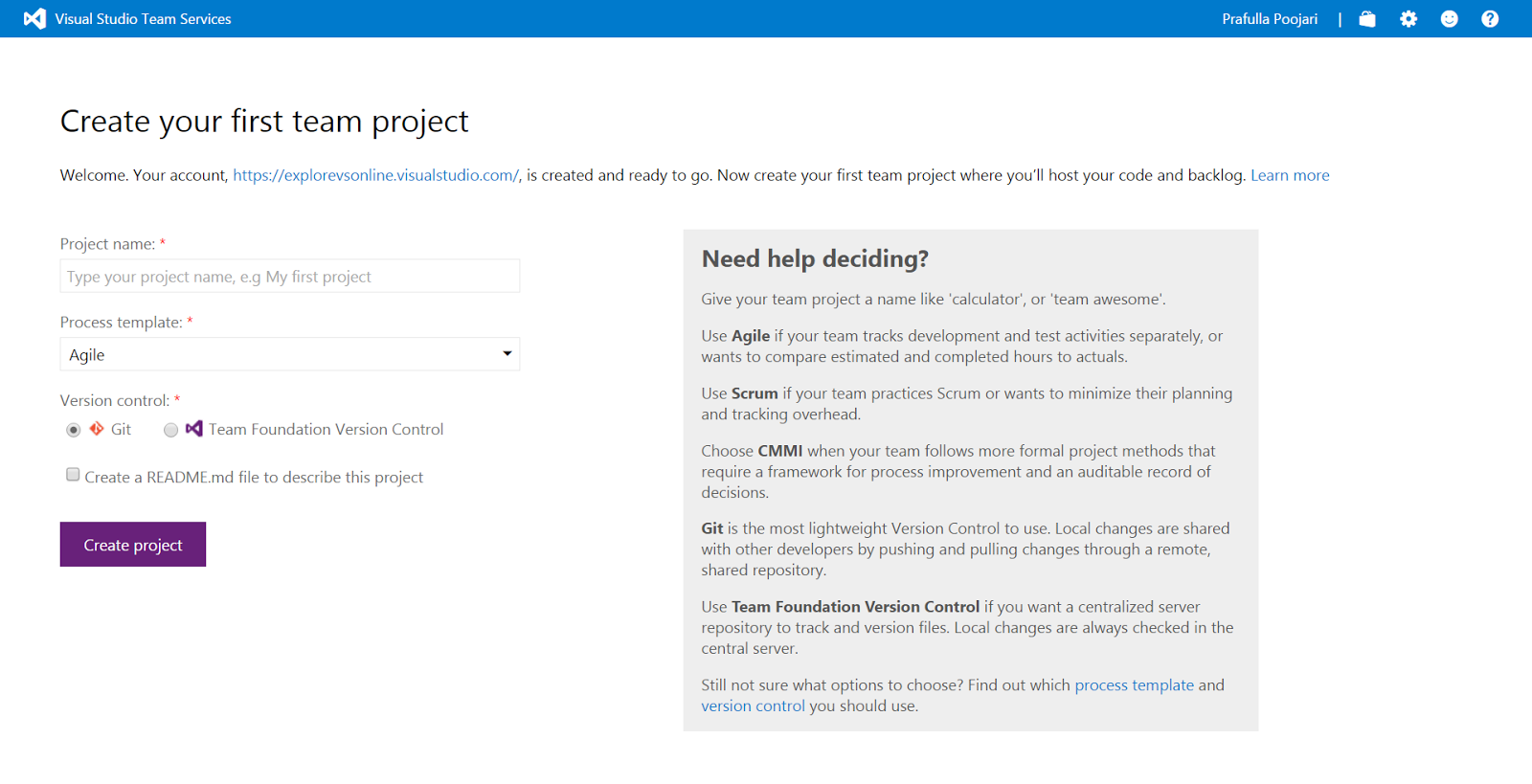 Different ways to create Team Project for VSTS default collection ...