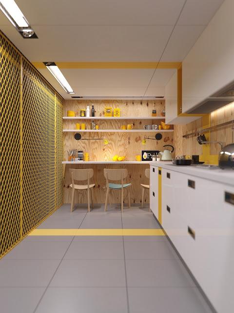желтые предметы декора на кухне