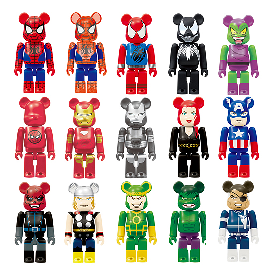 Medicom x Happy Kuji Marvel Universe 100% Be@rbrick Series - Spider-Man, Translucent Spider-Man, Scarlet Spider, Venom, Green Goblin, Spider-Man Logo, Iron Man, War Machine, Black Widow, Captain America, Red Skull, Thor, Loki, Hulk & Nick Fury