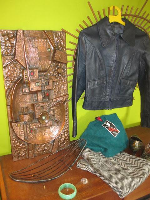 Courrèges ring , courreges bague fruit metal basket  ,  vintage 70s leather jacket ,  60s angora sweater , bangle , fiberglass brassy sculpture 1950 50s 1960 60s 1970 70s angora sweater , bangle