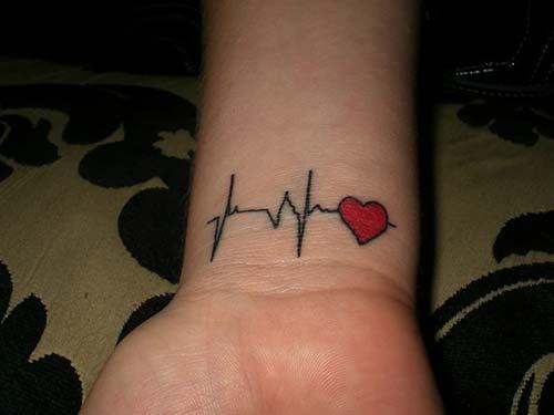 bilek kalp ritmi dövmesi heart ryhthm tattoo