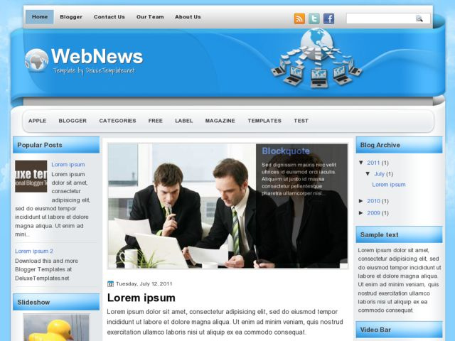 WebNews Blogger Template