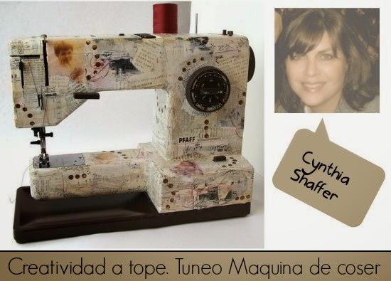 máquina coser, tunear, decoupage, papel, vintage, manualidades