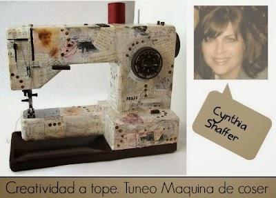 Maquina de Coser tuneada con papel vintage